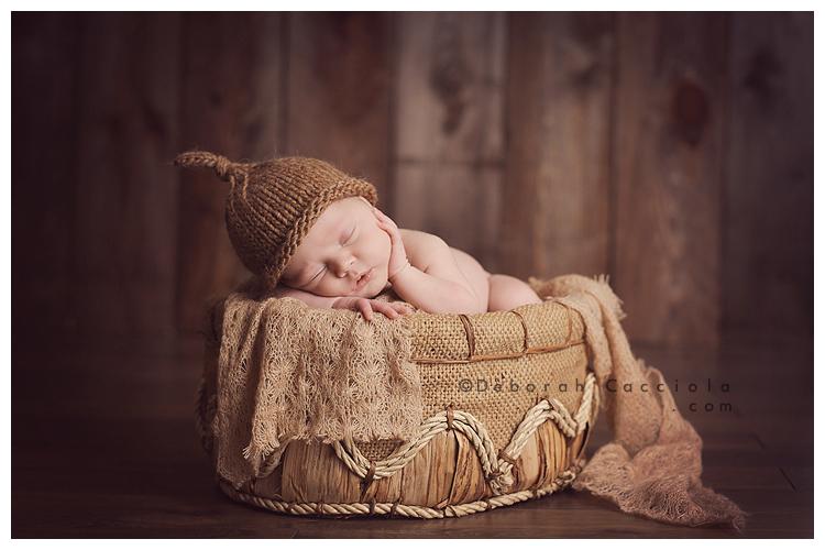 Photo Nouveau né Photo Teintes Marron De Bébé Dans Une Corbeille