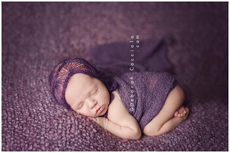 Photo Nouveau né Photographie De Nouveau-né Tout De Violet Vêtu