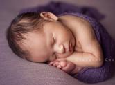 Photo nouveau-ne Bébé endormi en boule dans un textile violet